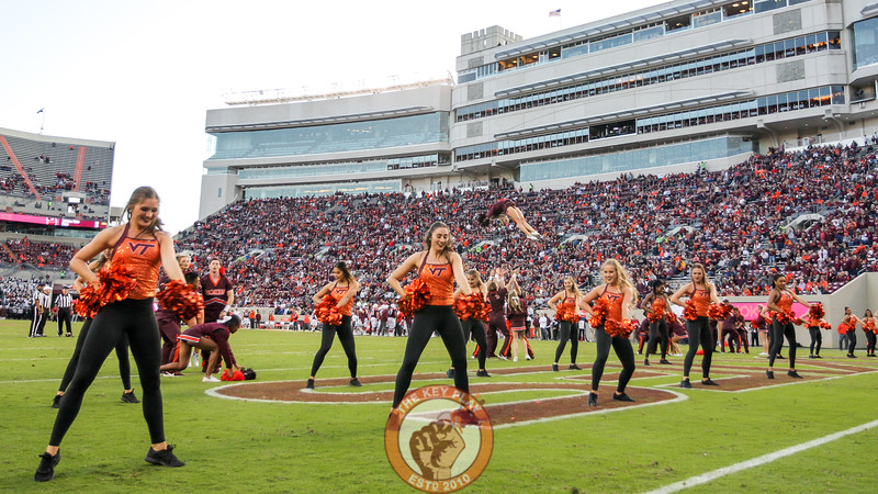 The Virginia Tech spirit squads perform for the crowd after the end of the third quarter. (Mark Umansky/TheKeyPlay.com)