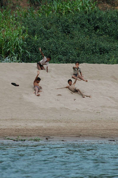 Kids Playing on the Shore - Nong Khiaw, Laos