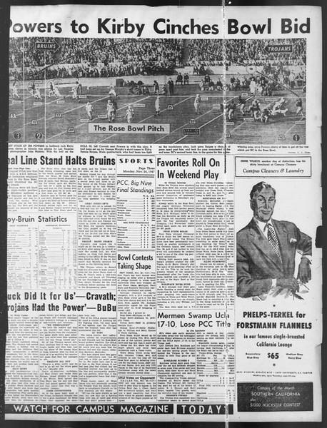 Daily Trojan, Vol. 39, No. 50, November 24, 1947