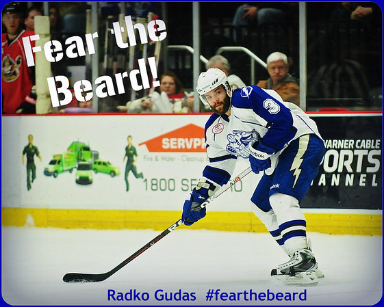 Radko Gudas, defensemen for the Syracuse Crunch, and his famous beard staring down the competition.