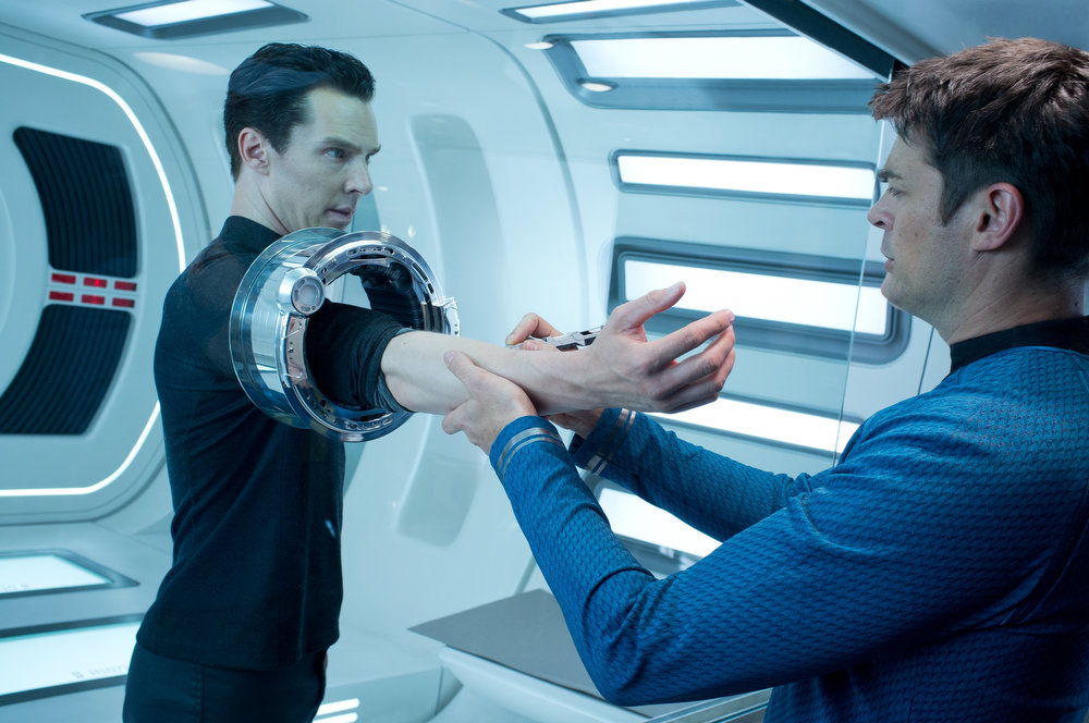 . (Left to right) Benedict Cumberbatch is John Harrison and Karl Urban is Bones in STAR TREK INTO DARKNESS, from Paramount Pictures and Skydance Productions.   (Photo by Zade Rosenthal)