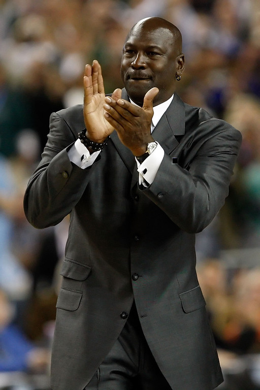 . DETROIT - APRIL 06:  Michael Jordan is announced as a member of the 2009 Hall-of-Fame class at halftime of the Michigan State Spartans and the North Carolina Tar Heels during the 2009 NCAA Division I Men\'s Basketball National Championship game at Ford Field on April 6, 2009 in Detroit, Michigan.  (Photo by Streeter Lecka/Getty Images)