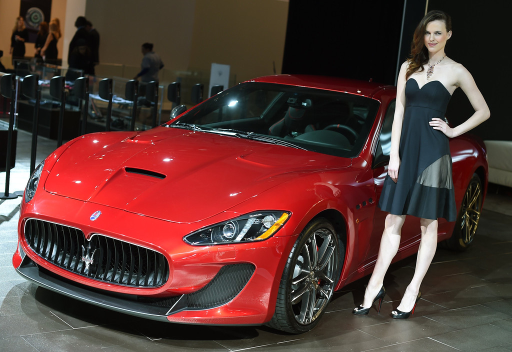. The Maserati GranTurismo on display during the first  press preview day at the 2014 New York International Auto Show April16, 2014 at the Jacob Javits Center in New York. The show opens to the public on April 18 and runs through the 27th.  AFP PHOTO / Timothy A. Clary/AFP/Getty Images