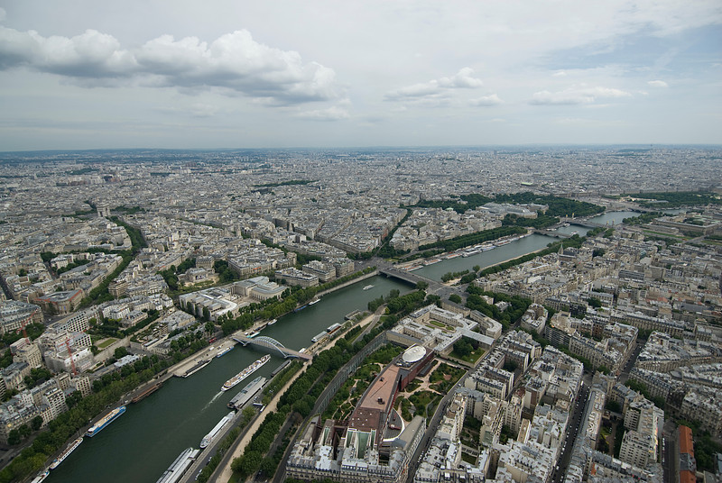 Wide shot of the city skyline in Paris, France