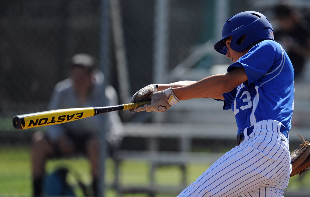 . Bishop Amat\'s Anthony Walters doubles in the second inning of a CIF-SS Division 3 first round playoff baseball game against Santiago at Bishop Amat High School on Wednesday, May 15, 2013 in La Puente, Calif. Bishop Amat won 12-3.  (Keith Birmingham Pasadena Star-News)