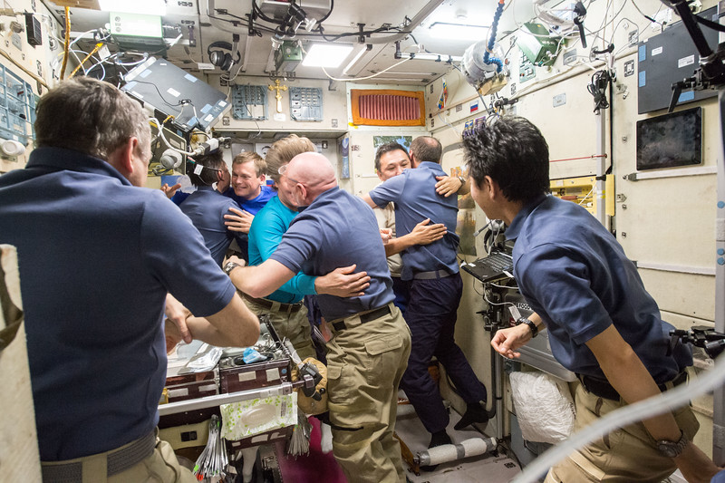 Farewell #brohug w my #Soyuz Commander Gennady Padalka with whom I arrived at @space_station in March. #YearInSpace