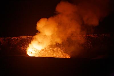Volcanos by air and Kilauea at night