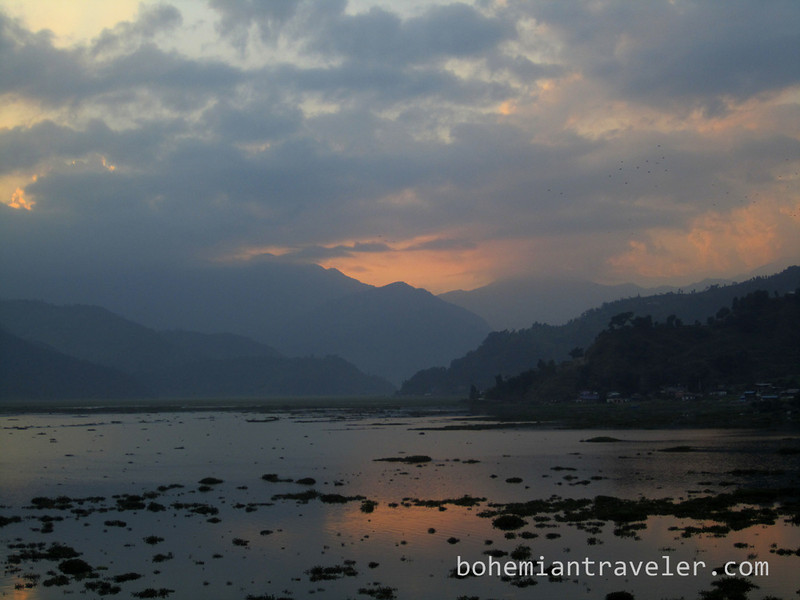 sunset from the north shore of Phewa Tal Pokhara.jpg