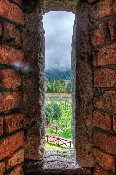 When you arrive at Castello di Amorosa you can roam around the outer crenellations and up into some of the defensive towers. Here you can see the view out of one of the crenellation windows -- looking out onto the vineyards, road, and mountains below.