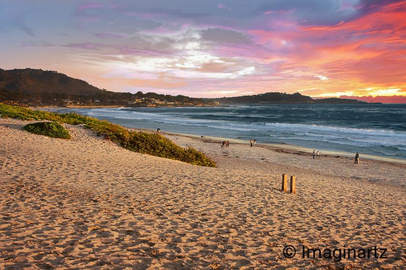Sunset at Carmel Beach, California
