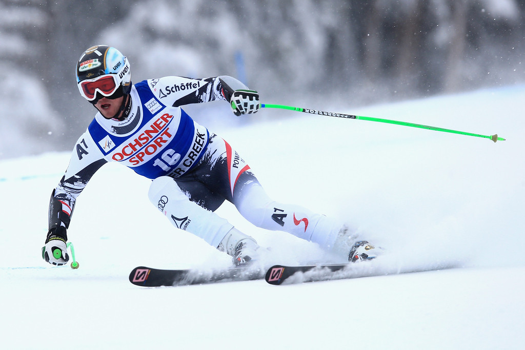 . Hannes Reichelt of Austria skies to third place in the men\'s Super G at the Birds of Prey Audi FIS Ski World Cup at Beaver Creek on December 7, 2013 in Beaver Creek, Colorado.  (Photo by Doug Pensinger/Getty Images)