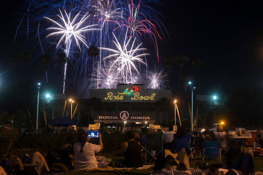 . In celebration of Independence Day more than a ton of explosives are used in Americafest\'s annual fireworks show at the Rose Bowl in Pasadena Friday night, July 4, 2014. (Photo by Sarah Reingewirtz/Pasadena Star-News)