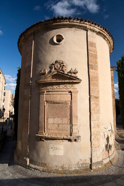 Rear view of San Blas church, used nowadays as auditorium, town of Salamanca, autonomous community of Castilla and Leon, Spain