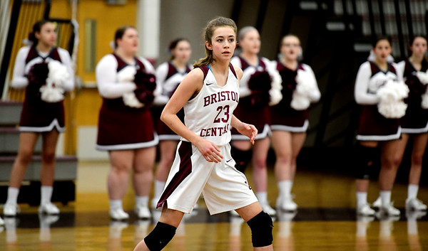 2/8/2019 Mike Orazzi | Staff Bristol Central's Ella Watson (23) during Friday night's girls basketball game with Innovation.