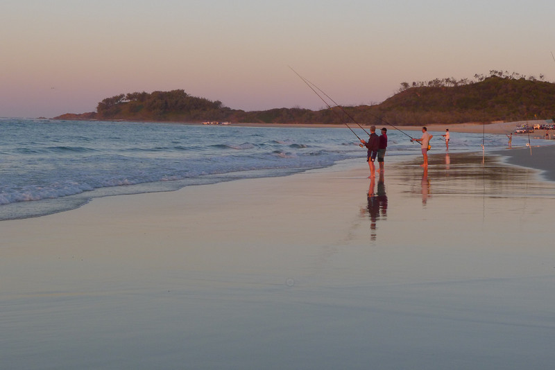 Fishing after sunset, on Waddy Lagoon.