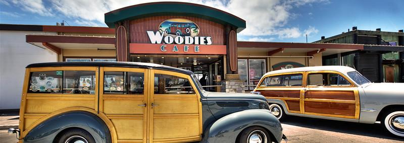 "two 8'3"" x 18"" Santa Cruz outdoor mounted Woodies Cafe Santa Cruz harbor Ca."