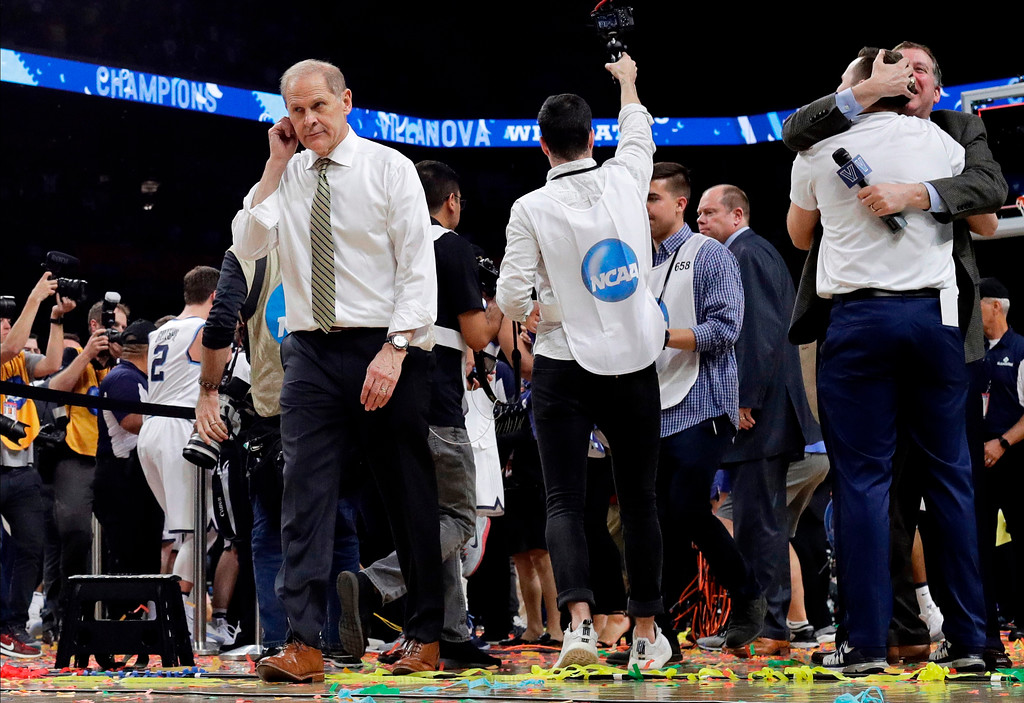 . Michigan head coach John Beilein walks off the court after the championship game against Villanova in the Final Four NCAA college basketball tournament, Monday, April 2, 2018, in San Antonio. Villanova won 79-62.(AP Photo/David J. Phillip)