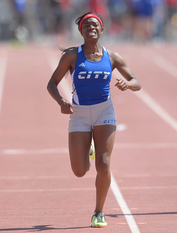 . Culver City\'s Kenia Bonilla in the 400 meter Division 2 race of the CIF Southern Section Track and Field Championships Saturday at Mt. SAC. 20130518 Photo by Steve McCrank / Staff Photographer