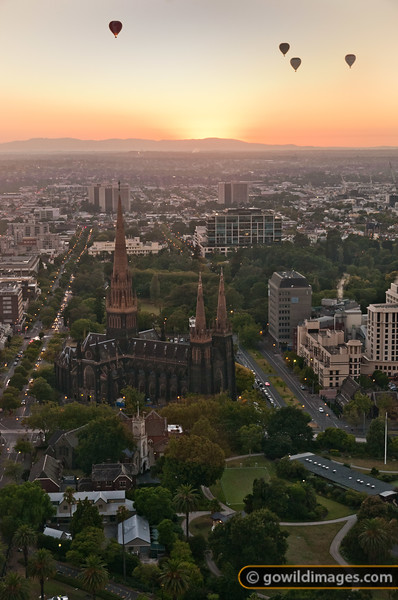 Hot air balloons at sunrise over the eastern suburbs near Mt Dandenong, with St Patricks Cathedral in the foreground