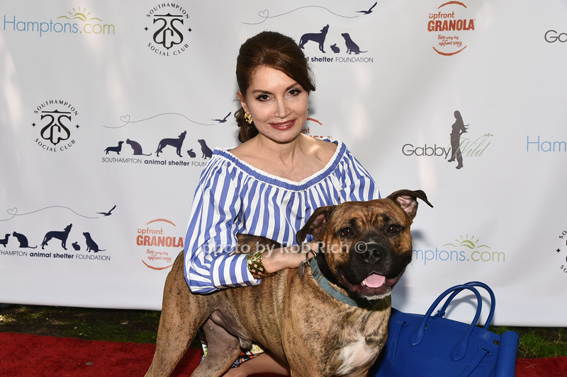 Philantropist Jean Shafiroff and dog for adoption Miller attend the Catwalk for Canines ethical & eco fashion show to benefit the Southampton Animal foundation at the Southampton Social Club in Southampton on Saturday, June 10, 2017.