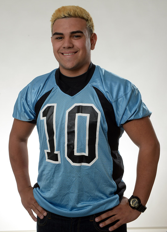 . Arroyo\'s Nathan Coto All Area Football mugs in West Covina, Calif., on Thursday, Dec. 12, 2013.   (Keith Birmingham Pasadena Star-News)