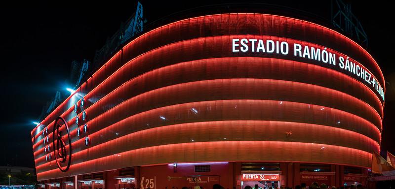 Ramon Sanchez-Pizjuan stadium, belonging to Sevilla FC (Spain), at night.