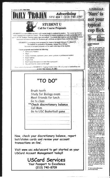 Daily Trojan, Vol. 148, No. 5, January 22, 2003