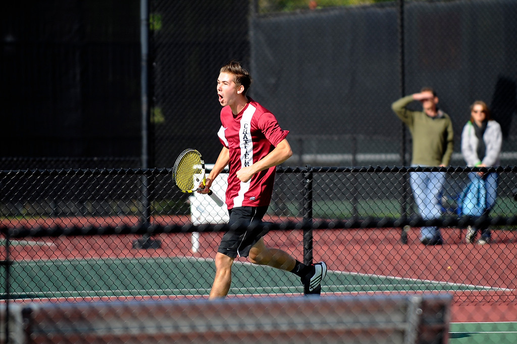 . DENVER, CO. - OCT 12:   Chatfield\'s John Koza cheers on the court during his match on the final day of the 5A Boys\' Tennis Championships at Gates Tennis Center on Oct. 12, 2013.   (Photo By Erin Hull/The Denver Post)