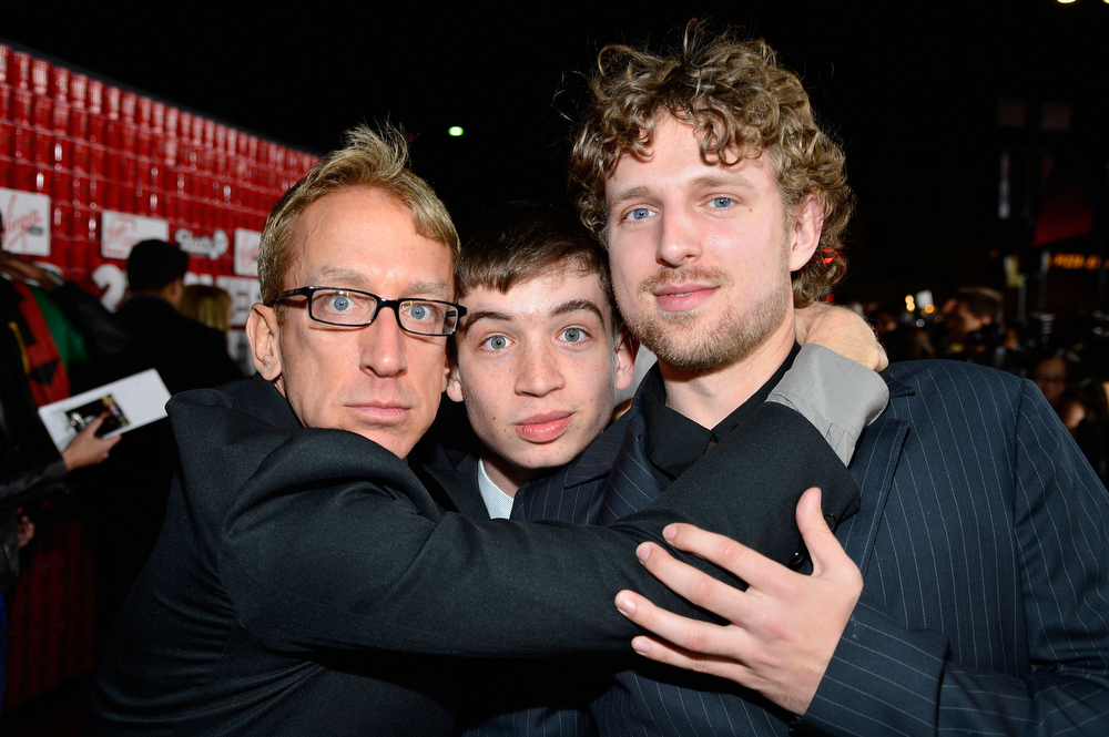 """. Comedian Andy Dick (L), Lucas Dick and Jacob Dick attend Relativity Media\'s \""""21 and Over\"""" premiere at Westwood Village Theatre on February 21, 2013 in Westwood, California.  (Photo by Frazer Harrison/Getty Images for Relativity Media)"""