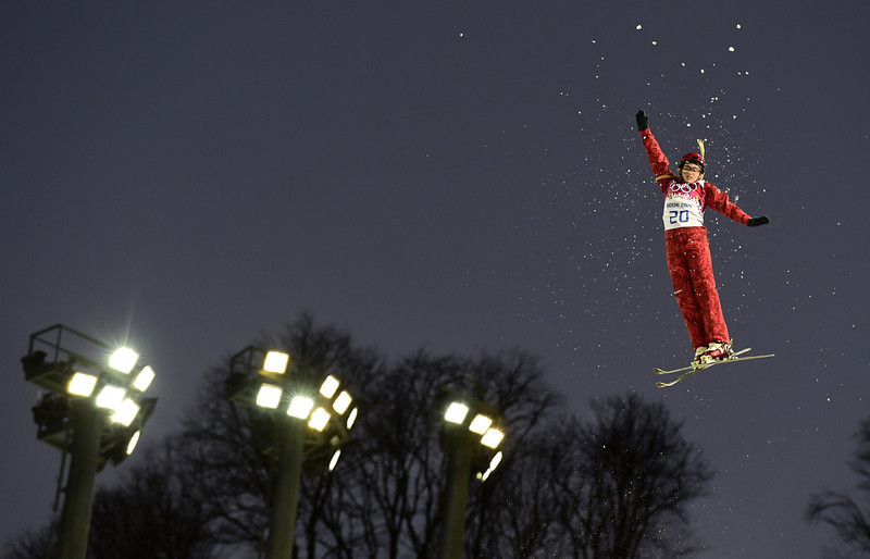. Russia\'s Alexandra Orlova competes in the Women\'s Freestyle Skiing Aerials Qualifications at the Rosa Khutor Extreme Park during the Sochi Winter Olympics on February 14, 2014.  (JAVIER SORIANO/AFP/Getty Images)