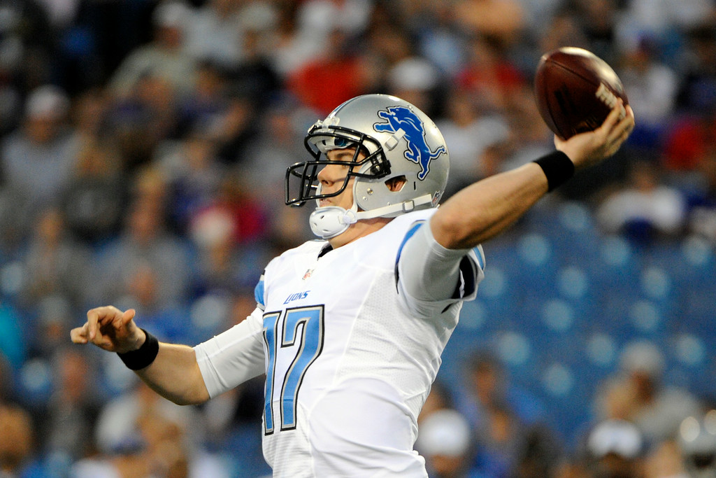 . Detroit Lions quarterback Kellen Moore (17) throws against the Buffalo Bills during the first half of a preseason NFL football game, Thursday, Aug. 28, 2014, in Orchard Park, N.Y. (AP Photo/Gary Wiepert)