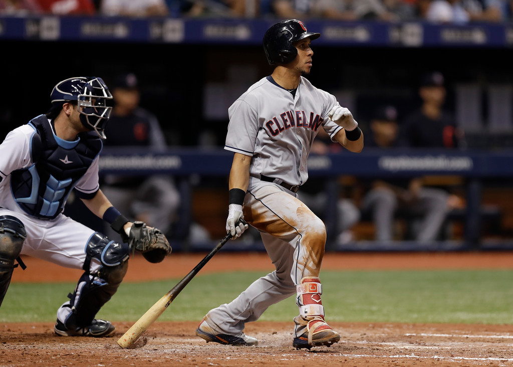 . Cleveland Indians\' Michael Brantley doubles off Tampa Bay Rays pitcher Jalen Beeks during the fifth inning of a baseball game Monday, Sept. 10, 2018, in St. Petersburg, Fla. (AP Photo/Chris O\'Meara)