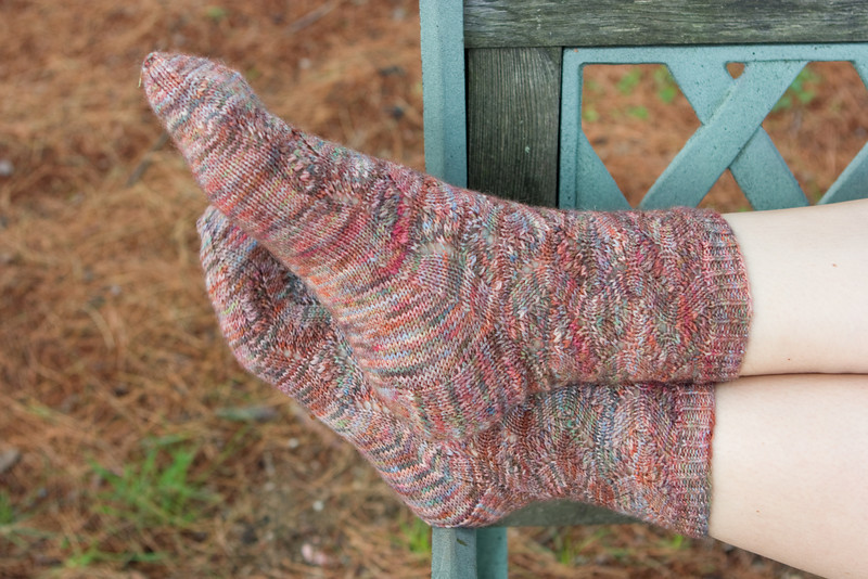 Spring Forward socks, by Linda Welch, from Knitty. In Auracania Ranco Multi.