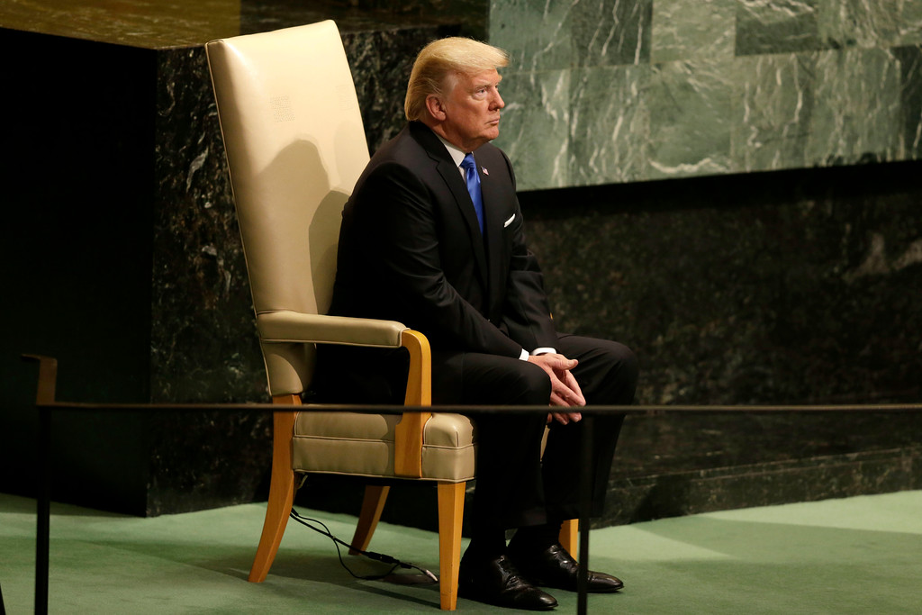 . United States President Donald Trump prepares to speak during the United Nations General Assembly at U.N. headquarters, Tuesday, Sept. 19, 2017. (AP Photo/Seth Wenig)