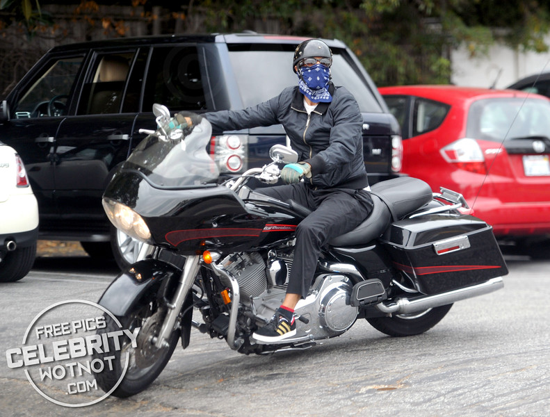 EXC: Anthony Kiedis Arrives On Harley Davidson For Lunch With Female Friend