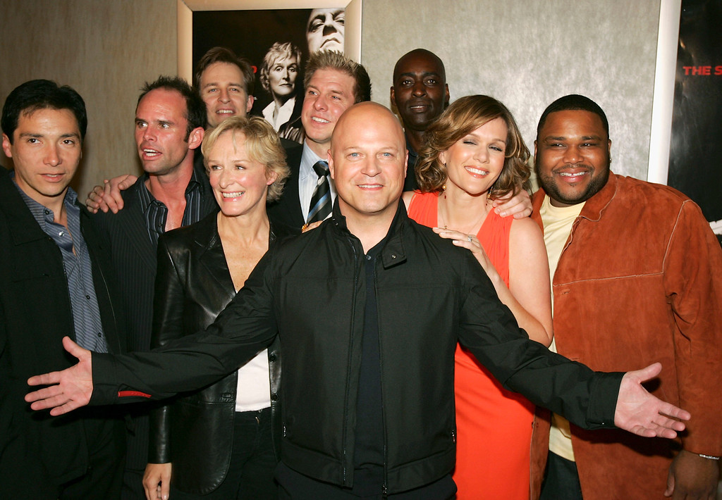 ". The cast of ""The Shield\"", with Michael Chiklis in front and (L-R) Benito Martinez, Walton Goggins, Jay Karnes, Glenn Close, Kenny Johnson, Michael Jace, Catherine Dent and Anthony Anderson pose at the 4th season premiere screening of FX\'s \""The Shield\"" at the Pacific Design Center on March 12, 2005 in West Hollywood, California. (Photo by Kevin Winter/Getty Images)"