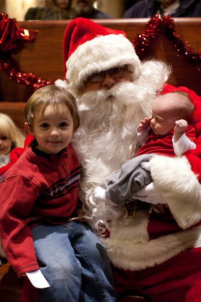 Hunter and Henry Grabiec with Santa at the train depot in Mattoon, Illinois on December 10, 2011. (Jay Grabiec)