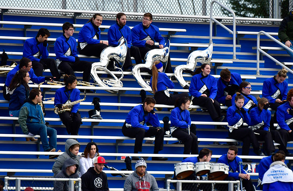 11/17/2018 Mike Orazzi | Staff CCSU band members during half time at Arute Field in New Britain Saturday afternoon for football with Duquesne.