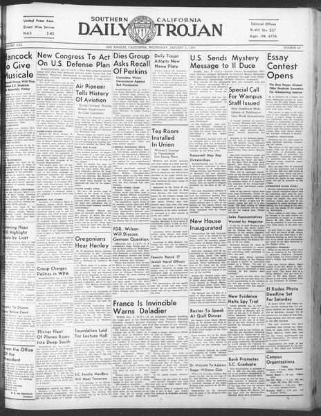 Daily Trojan, Vol. 30, No. 59, January 04, 1939