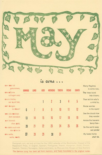 May, 1962, Peppercorn Press