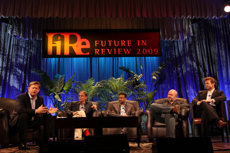 """""""Clouds 2.0: Utility Computing for Consumers and the Enterprise"""": (L-R) Host John Thompson, CEO, Kognitio; Russ Daniels, VP and CTO, Hewlett-Packard; Amitabh Srivastava, SVP, Microsoft; Werner Vogels, CTO and VP, Amazon.com; and Rowan Trollope, SVP, Symantec"""