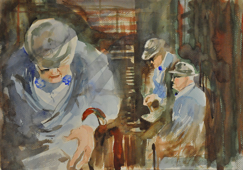 12X16 Watercolor sketch of Edgar Whitney, my old mentor as he was giving a demonstration in his watercolor class. Lovely memories. Ala prima, plein aire