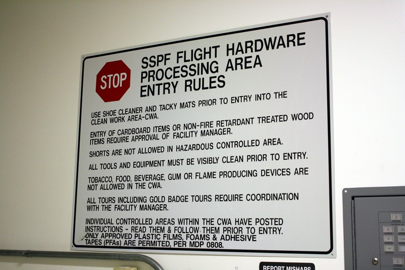 Rules for the Flight Hardware Processing Area of the Space Station Processing Facility