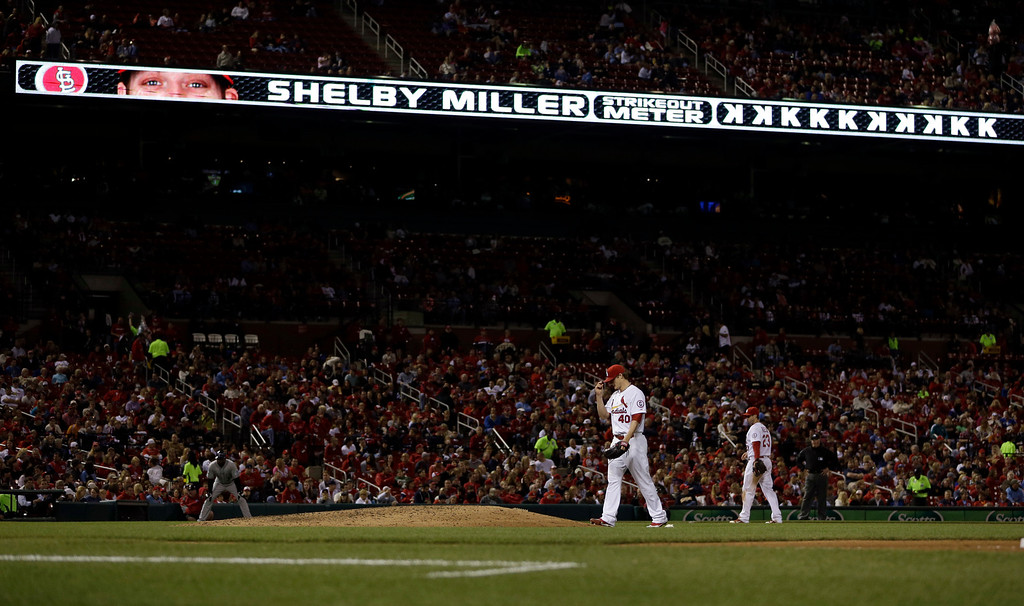 . St. Louis Cardinals starting pitcher Shelby Miller (40) walks back to the mound after striking out Colorado Rockies\' Dexter Fowler during the seventh inning of a baseball game on Friday, May 10, 2013, in St. Louis. (AP Photo/Jeff Roberson)