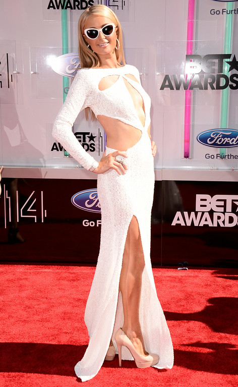 . Paris Hilton arrives at the BET Awards at the Nokia Theatre on Sunday, June 29, 2014, in Los Angeles. (Photo by Dan Steinberg/Invision/AP)