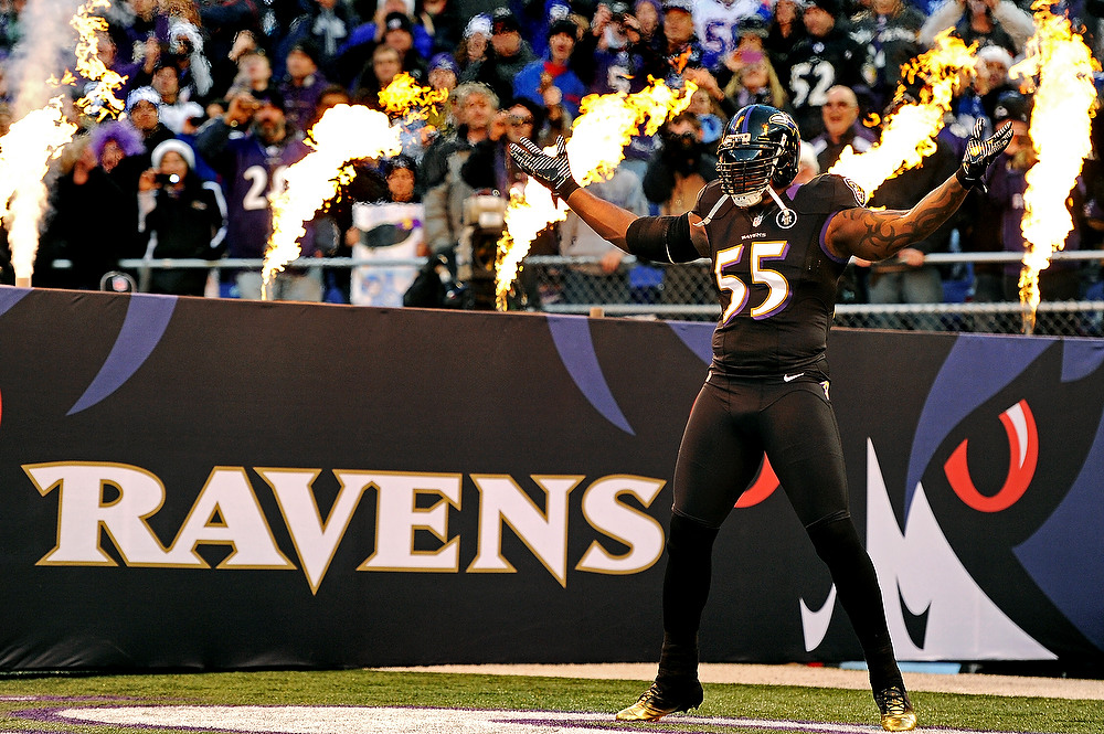 . Linebacker Terrell Suggs #55 of the Baltimore Ravens is introduced before playing the New York Giants at M&T Bank Stadium on December 23, 2012 in Baltimore, Maryland. The Baltimore Ravens won, 33-14.  (Photo by Patrick Smith/Getty Images)