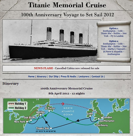 100th anniversary Titanic memorial cruise - 8th April 2012 - 12 nights