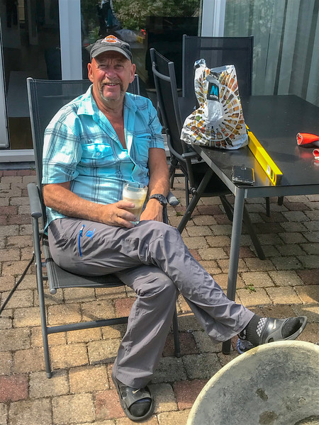 May 17, 2020: dad relaxing after helping with pouring the concrete.