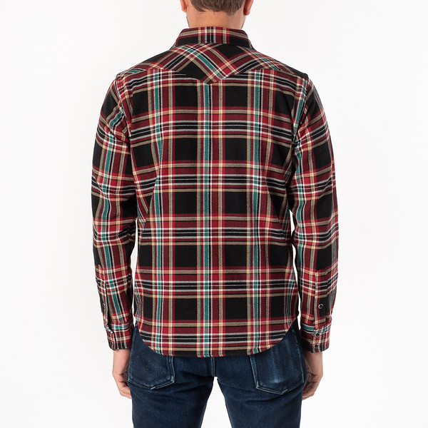 Black Crazy Check Ultra Heavy Flannel Western Shirt-1815.jpg
