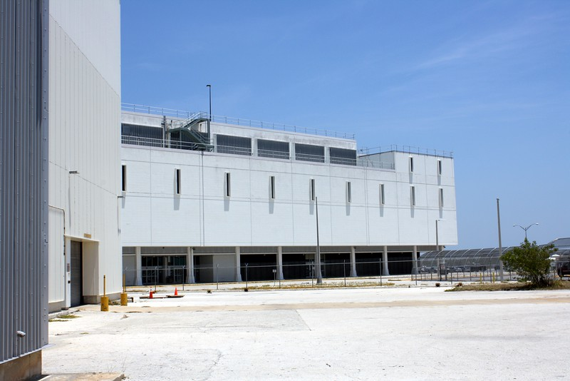 The back of the Launch Control Center (LCC), as seen from the Vehicle Assembly Building